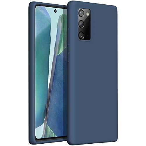 YATWIN Compatibile con Cover Samsung Galaxy Note 20 6,7'', Custodia per Samsung Galaxy Note 20 Silicone Liquido, Protezione Completa del Corpo con Fodera in Microfibra, Blu Notte