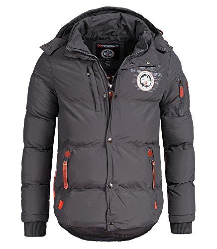 Geographical Norway - Chaqueta acolchada de invierno para hombre, con capucha (Gris, M)