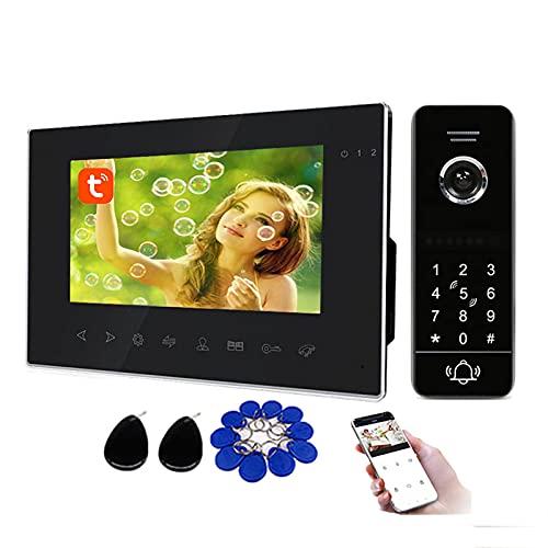 Tuya Smart Timbre con video wifi, sistema de seguridad con videoportero, desbloqueo remoto de tarjeta RFID con contraseña, cámara + monitor de 7 pulgadas,Kit
