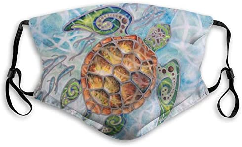 Ocean Sea Turtle Swimming With Fish Print Dust Washable Free Reusable Face Mouth with Activated product image