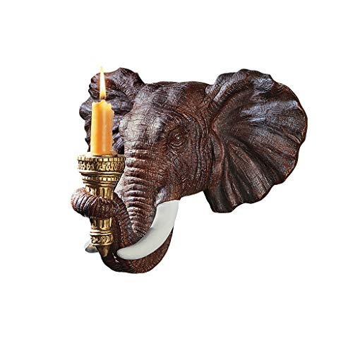 Design Toscano Elephant African Decor Candle Holder Wall Sconce Sculpture, 30.5 cm, Polyresin, Full Color