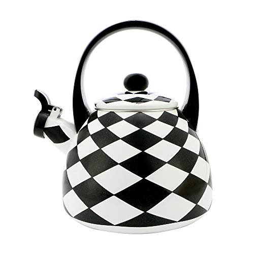 Teekanne mit Emaille Teekanne und Wasserkocher für Herd Gasherd Induktionskochfeld, 2,2 Liter - Gourmet Art Diamond Check Design