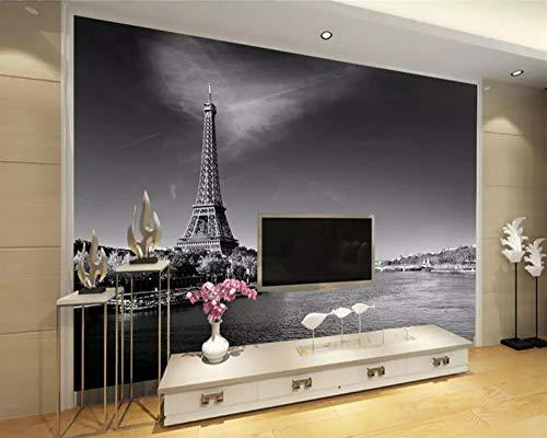 Mbwlkj 3D Wall Custom Mural Wallpaper Hd Fantasy Black and White Paris Tower Europe and The Wind Theme Wallpaper-350cmx245cm