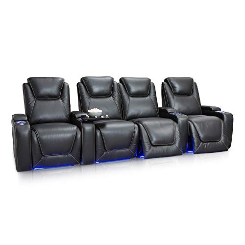 Seatcraft Equinox Home Theater Seating - Top Grain Leather - Power Recline - Power Headrest - Power Lumbar - USB Charging - In-Arm Storage - SoundShaker - Cup Holders (Row of 4 Middle Loveseat, Black)