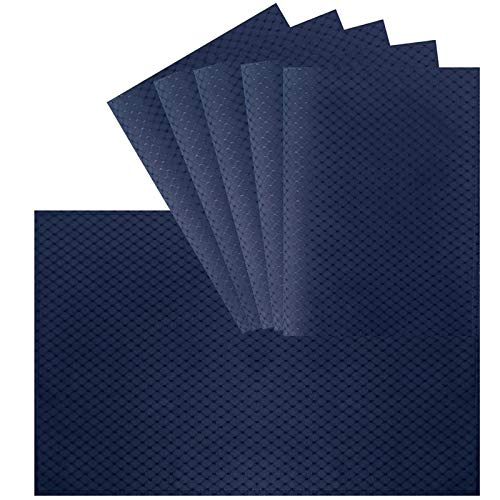 VCVCOO Anti-Stain Double Sided Placemats for Dining Table,13 by 19 inches Cloth Placemats Set of 6 Pieces, Navy Blue Waffle Woven Fabric Table Mats Machine Washable