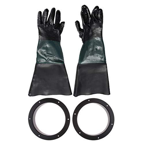 Hochwertigem PVC Sandstrahlhandschuhe Handschuhe mit Klemme für Sandstrahlkabine, aus PVC und Baumwolle - 1 Paar Handschuhe mit Halter