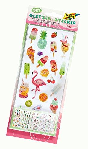 folia 1414 - Glitzer-Sticker Exotic, 5 Blatt, Motive sortiert - ideal geeignet zum Verzieren von Grußkarten, Bastelarbeiten und Scrapbooking