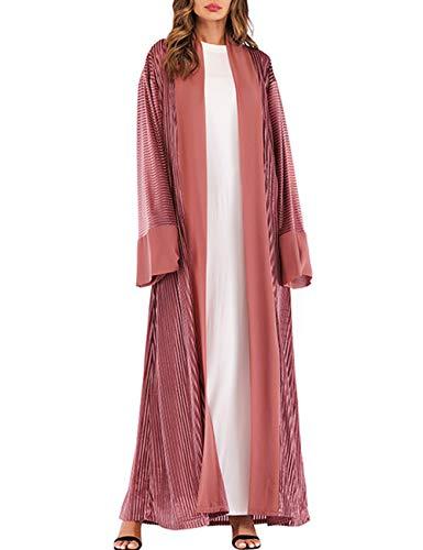 Zhhlinyuan Mujer Blusa Abaya de Terciopelo Kimonos - Arabia Saudita Musulmán Oriente Medio Kaftan Largo Vestido de Noche Abrigos Otoño Invierno