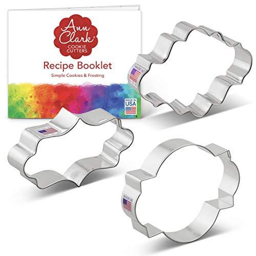 Ann Clark Cookie Cutters Juego de 3 cortadores de galletas placa/marco con libro de recetas, placa alargada elegante, placa ovalada y marco de foto