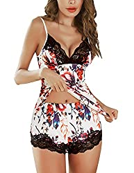 Material: Lace cami top with shirts ,95% Cotton and 5% Spandex. Soft and stretchy fabric makes it breathable and comfortable. Women pajama set features V neckline with lace patchwork , adjustable spaghetti straps, a scoop back with a tie back closure...