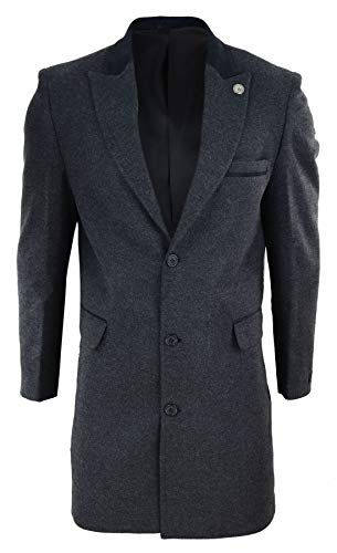 Mens 3/4 Long Crombie Overcoat Jacket Herringbone Tweed Coat Blinders Fit - charcoal XXL - 44