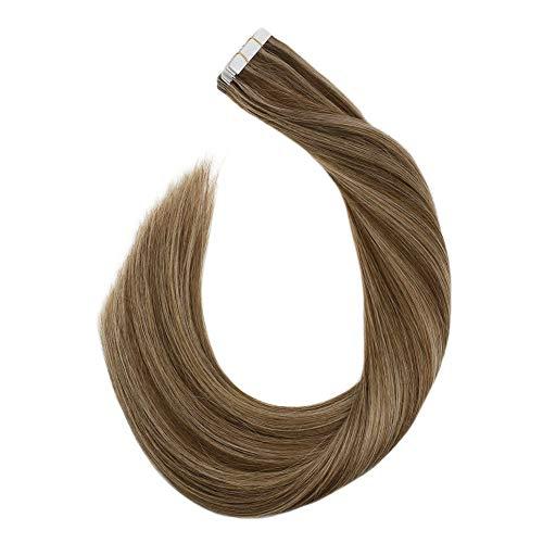Ugeat Echthaar Tape on Extensions 45 cm Remy 100% Echte Haare Mittelbraun bis Hellgoldbraun #P6/12 Seamless Skin Weft Tressen Tabs 2.5GR 20PCS Glue in Secret Haarverlangerung Naturlich Glatt