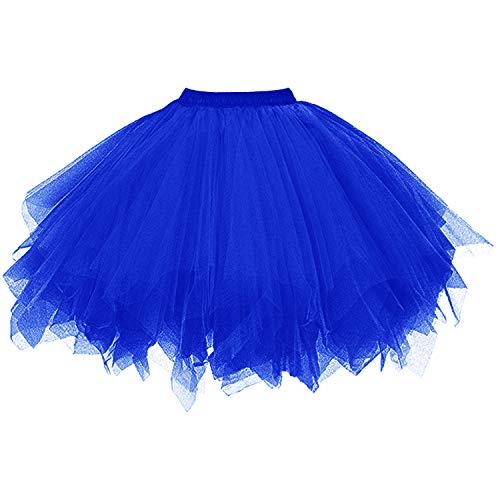 DresseverBrand Damen Petticoat 50er Rockabilly Jahre Retro Tutu Ballet Tüllrock Cosplay Crinoline Königsblau Small/Medium
