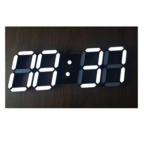 KDXBCAYKI 3D wandklok met digitale wandklok, grote kalender verstelbaar met helderheid, wekker, countdown, wandklok met thermometer
