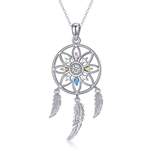 TRISHULA Feather Dream Catcher Necklace for Women, Sterling Silvere Hollow Flower Pendant Jewelry for Womn and Girls Inspirational Gift (A)