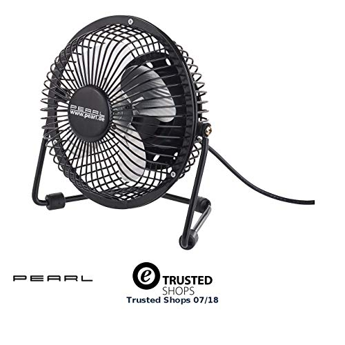 Pearl USB-ventilator: mini-USB-tafelventilator, massief metaal, kantelbaar tot 360°, 2,5 W, Ø 15 cm (ventilator met USB-aansluiting)