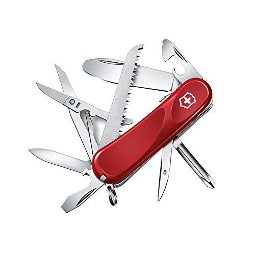 Victorinox Taschenmesser Junior 04 (15 Funktionen, Feststellklinge ohne Spitz, Schere, Holzsäge, Dösenöffner, Schraubendreher), rot