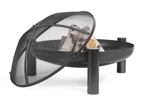 Korono Feuerschale 70cm mit Loch & Funkenschutz Gitter | Gartenfeuer | offenes Feuer - elegante Feuerstelle