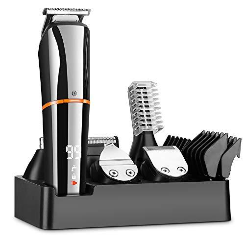 MANLI Cortapelos Hombre,Recortador de Barba y Precisión Impermeable 6-In-1,Afeitadora Corporal para Hombres Profesional Cortapelos Máquina de Afeitar Inalámbrica Recargable con USB