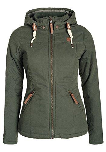 DESIRES Lewy Damen Übergangsjacke Steppjacke leichte Jacke gefüttert mit Kapuze und Stehkragen, Größe:S, Farbe:Ivy Green (3797)