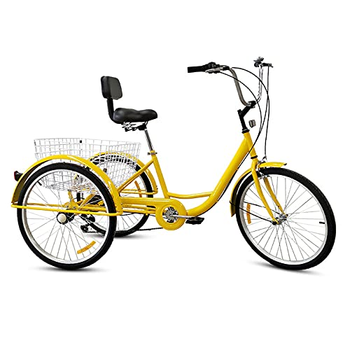 Triciclo para adultos bicicleta Bicicletas De 3 Ruedas Triciclo Para Adultos De 24 Pulgadas Marco De Acero De Alto Carbono 7 Velocidad Para Adultos Bicicleta Para Recreación, Compras, Picnics Ejercici