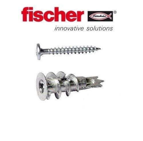 Fischer GKM Fixings Gipskartondübel Ø 4-5 x 31 mm Befestigungen inklusive Schrauben - 100 Stück