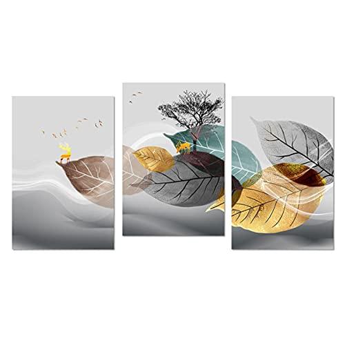 HANSHUO Cartel Abstracto de Hoja Dorada Impresión en Lienzo Planta Arte de la Pared Imagen Minimalista Moderna Sala de Estar Pintura Decorativa para el hogar (55x75cm × 3pcs) Sin Marco