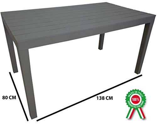 Tavolo tavolino rettangolare Sumatra in resina finto legno colore tortora