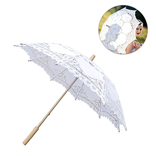 Per Handmade Lace Umbrella Parasol With Wooden Handle Decorations For Wedding Bridal Shower Lolita&Gothic Style Photograph Props Diameter 64cm-White