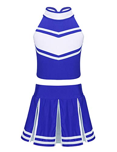 CHICTRY Girls Children Cheer Uniform Sequin Red Star School Dance Camp Cheerleading Cosplay Costumes (7-8, A1 High Neck Blue&White)