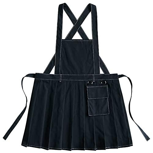 Delantal de mujer con bolsillos Delantal para cocinar,Negro,Large