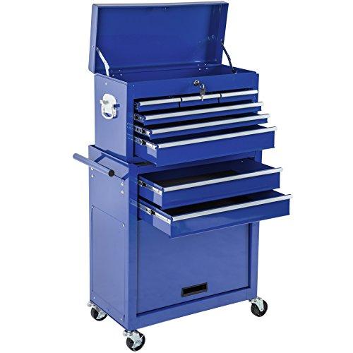 TecTake Werkzeugwagen mit Aufsatz | verschließbare Schubfächer | Kugelgelagerte Gleitschienen | -diverse Farbe- (Blau | Nr. 402804)