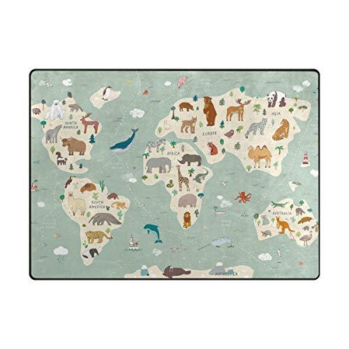 Redecor Teppich Kinderzimmer Wohnzimmerteppich Schlafzimmer K¨¹Che rutschfest 160x120 cm Weltkarte Tiere