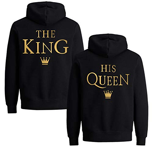 King Queen Pullover Set Partner Tops Couple Pulli Pärchen Hoodie Mr Mrs Partnerlook Kapuzenpullover für Paar Liebespaar (Gold - Queen - 1 Stück, S)