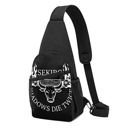 Hdadwy Sekiro Shadows Die Twice Blazing Bull Light Sling Mochila Sling Bag Black Crossbody Daypack Mochila informal Bolsa de pecho Mochila para viajes, senderismo, ciclismo, camping para mujeres hombr