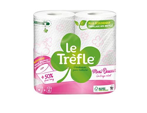 Le Kleeblatt Maxi Douceur Toilettenpapier I Paket 4 = 6 Rollen I 2 Rollen I Maxi-Rollen I Sensation Douceur I FSC® zertifiziertes Papier
