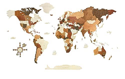 Decorazione da parete con mappa del mondo, in legno tinto multicolore e multistrato, con nomi incisi, effetto 3D unico, per soggiorno, ufficio e camera da letto