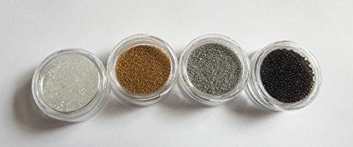 New Nail Art Lot de 4 petites boîtes de perles caviar Transparent/argent/doré/noir Pour nail art manucure et pédicure Accessoires paillettes