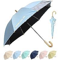 日傘 キッズ 子供 ジュニア 安心設計 長傘 窓付き 反射テープ 晴雨兼用 55cm UVカット 99.99% 遮光 遮熱効果(FKL002/ブルー)