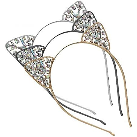 Details about  /Women Girl Metal Crystal Pearl Cat kitty Party Hair Head Band Headband Hoop