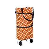 Bolsa de la carretilla de compras Portátil Portable Bolsa de asas Folleable Carro de compras Bolsas de comestibles con ruedas Rolling Transfer Carrito Organizador de compras ( Color : Orange Circle )