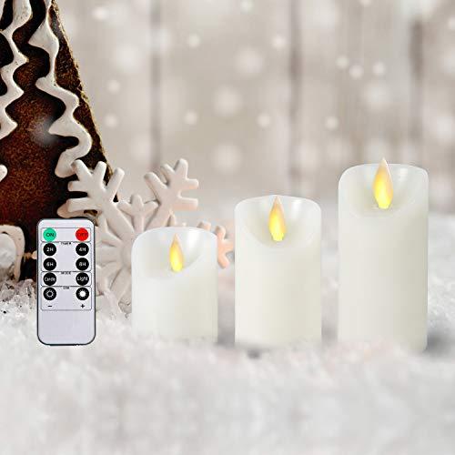 CCLIFE Vela LED Cera Real o Plastico Vela de la batería Marfil con Control Remoto Temporizador, Color:3pcs Cera Vela Led
