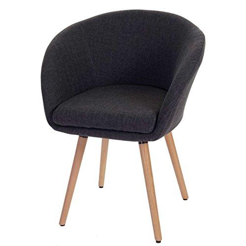 Chaise de Salle à Manger Malmö T633, Fauteuil, Design rétro des années 50 - Tissu, Gris foncé
