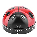 Ladybug Kitchen Timer Waterproof, Does Not Need Battery, Countdown Reminder, Suitable for Home Kitchen, Cute Timer (Red)