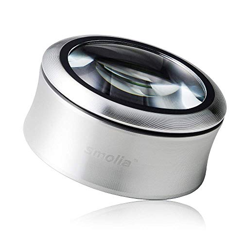 Smolia XC 3X Magnifying Glass with LED Light Desktop Hands-Free Dome Magnifier USB Rechargeable - Silver