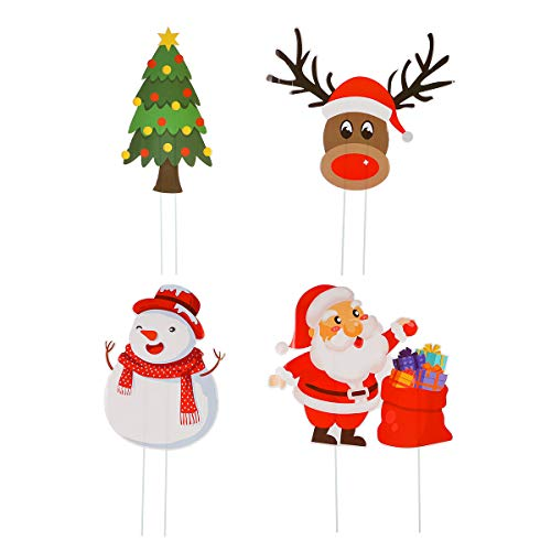 Amosfun Christmas Yard Sign Xmas Garden Stake Sign Santa Reindeer Snowman Christmas Tree Garden Lawn Stake Decoration for Holiday Festival 4pcs