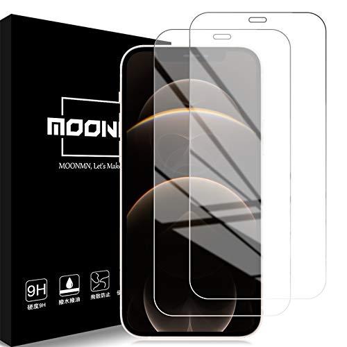 MOONMN iPhone 12 Pro Max ガラスフィルム 日本製素材旭硝子製 硬度9H 耐衝撃 iPhone 12 Pro Max フィルム 貼り付け簡単 ケースに対応 2020 iPhone 12 Pro Max 強化 ガラスフィルム 6.7インチ 2枚 (iPhone 12 Pro Max)