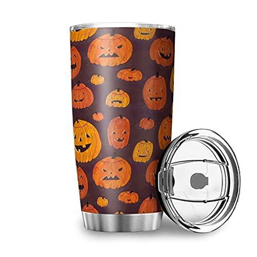 Taza de viaje con tapa, diseño de calabaza de Halloween, acero inoxidable, 100 % hermética, 600 ml, color blanco