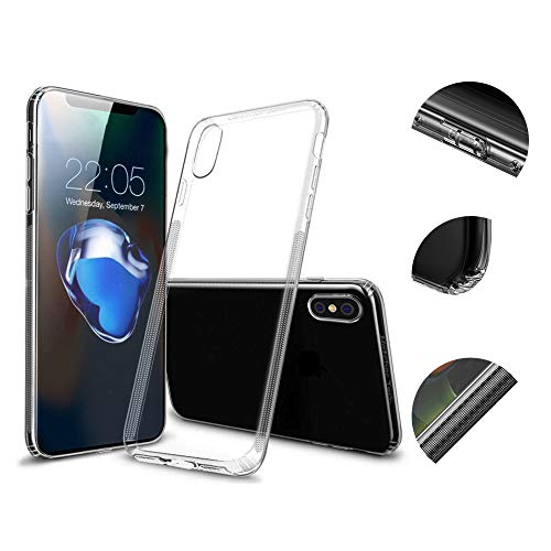 Hetcher Tech Premium iPhone X XS Hülle Transparent Silikon mit Staubschutz - Schutzhülle kompatibel mit Apple iPhone X und XS