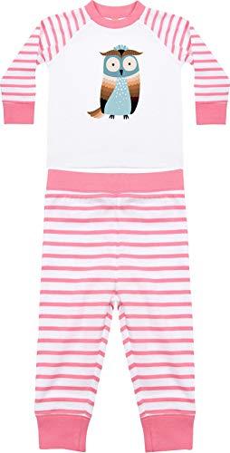 Kleckerliese Baby Kinder Schlafanzug Pyjama Jungen Mädchen Zweiteiler Langarm mit Motiv Tiere Eule, PinkWhite, 12-18 Monate